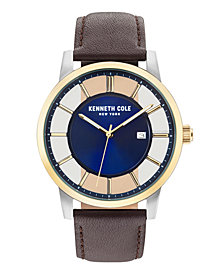 Kenneth Cole New York Men's Transparent Brown Leather Strap Watch 44mm