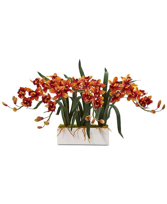 Nearly Natural Cymbidium Artificial Arrangement in White Vase