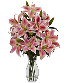 Nearly Natural Rubrum Lily Artificial Arrangement in Vase