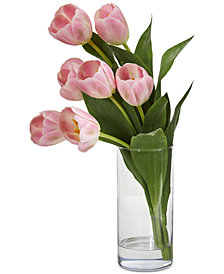 Nearly Natural Tulip Artificial Arrangement in Cylinder Vase
