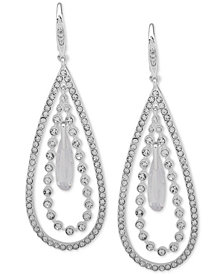 Anne Klein Silver-Tone Crystal Orbital Drop Earrings