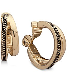 Gold-Tone Textured Double-Row Clip-On Mini Small Hoop Earrings
