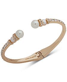 Anne Klein Gold-Tone Crystal & Imitation Pearl Cuff Bracelet