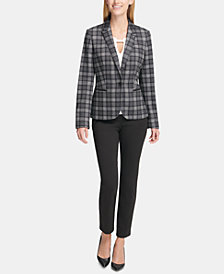 Tommy Hilfiger Plaid Blazer, Embellished Top & Slim-Leg Pants