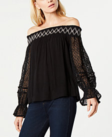 I.N.C. Off-The-Shouder Lace Peasant Top, Created for Macy's