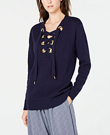 MICHAEL Michael Kors Laced Grommet-Neck Cotton Sweater