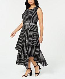 Calvin Klein Plus Size Floral-Print Handkerchief-Hem Dress