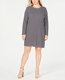 MICHAEL Michael Kors Plus Size Striped Long-Sleeve T-Shirt Dress
