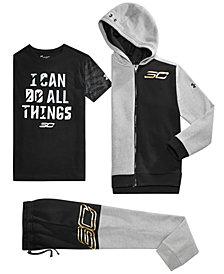 Under Armour Big Boys SC30 Zip-Up Hoodie, Graphic-Print T-Shirt & MVP Pants