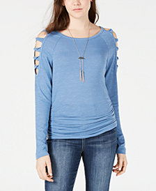 BCX Juniors' Ruched Cold-Shoulder Top