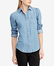 Lauren Ralph Lauren Puff-Sleeve Denim Cotton Shirt