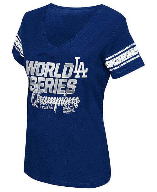 ac043ae9413ce G-III Sports Women s Los Angeles Dodgers 2018 World Series Champ First Pick  T-