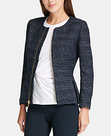 DKNY Tweed Zip-Up Peplum Jacket, Created for Macy's