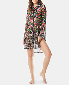 Carmen Marc Valvo Printed Dress-Shirt Cover-Up