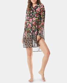 Carmen Marc Valvo Printed Dress-Shirt Cover-Up