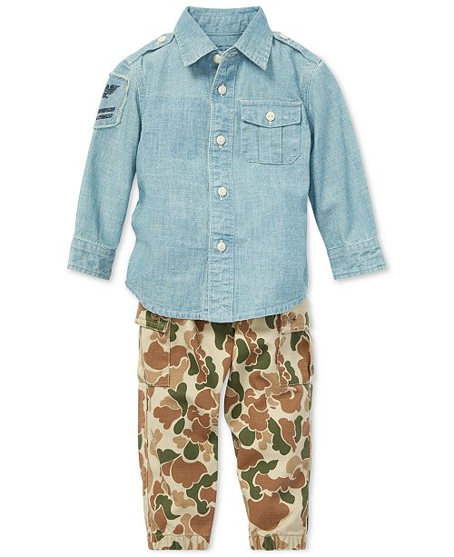 d8e788a2a ... Polo Ralph Lauren Baby Boys Cotton Chambray Shirt & Jogger Pants ...