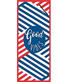 Premium High Performance Large Beach Pool Towel With Pocket Good Vibes, Red By MinxNY