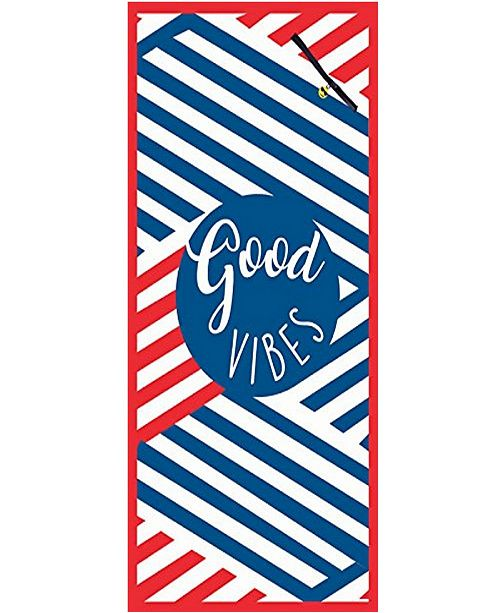MinxNY Premium High Performance Large Beach Pool Towel With Pocket Good Vibes, Red By MinxNY