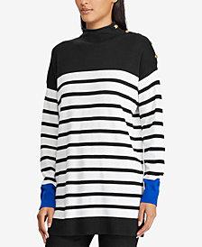 Lauren Ralph Lauren Striped Button-Trim Sweater