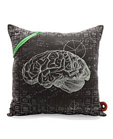 Mimish Scientist Square Storage Throw Pillow with Scribble Notes Print