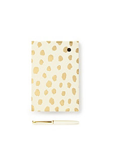 Kate Spade New York Loose Note Holder With Pen, Gold Flamingo Dot