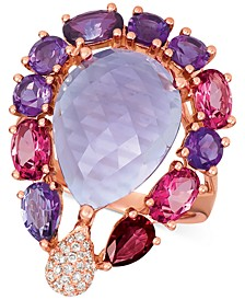 Multi-Gemstone (10-5/8 ct. t.w.) & Diamond (1/8 ct. t.w.) Ring in 14k Rose Gold