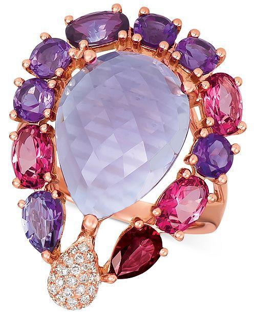 Le Vian Multi-Gemstone (10-5/8 ct. t.w.) & Diamond (1/8 ct. t.w.) Ring in 14k Rose Gold
