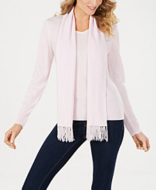 Karen Scott Luxsoft Studded Detachable-Scarf Sweater, Created for Macy's