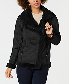 Style & Co Petite Faux-Shearling Moto Coat, Created for Macy's