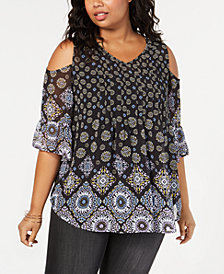 Style & Co Plus Size Border-Print Cold Shoulder Top, Created for Macy's