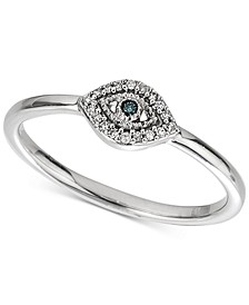 Diamond Accent Evil Eye Ring in Sterling Silver