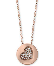 "EFFY® Diamond Accent Heart Disc 18"" Pendant Necklace in 14k Rose Gold"