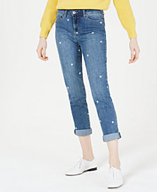 Maison Jules Dot-Print Cuffed Boyfriend Jeans, Created for Macy's