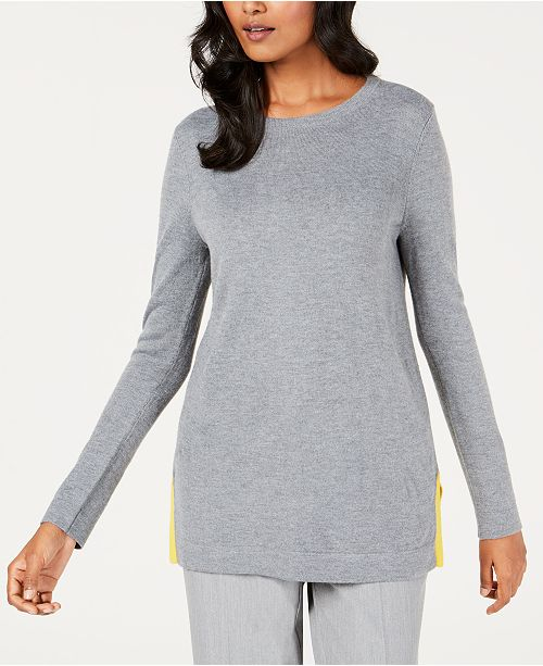 Charter Club Petite Contrast-Trim Sweater, Created for Macy's