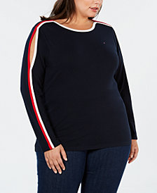Tommy Hilfiger Plus Size Split-Sleeve Contrast-Trim Top, Created for Macy's