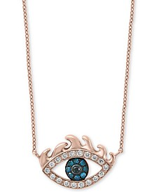 "EFFY® Diamond Evil Eye 18"" Pendant Necklace (1/6 ct. t.w.) in 14k Rose Gold"