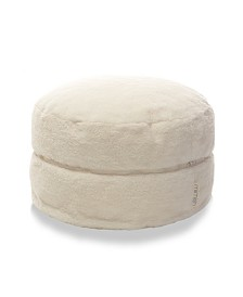Mimish Cozy Sherpa Exposed Zipper Pouf Ottoman with Storage