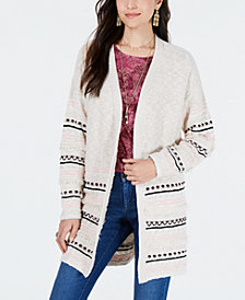 Style & Co Cotton Jacquard Fringed Completer Cardigan, Created for Macy's