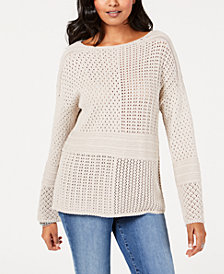 Style & Co Patchwork-Stitch Crocheted Sweater, Created for Macy's