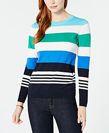 Tommy Hilfiger Cotton Multi-Stripe Lucy Sweater, Created for Macy's