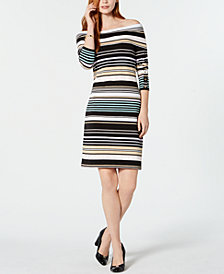 Tommy Hilfiger Striped Off-The-Shoulder Bodycon Dress, Created for Macy's