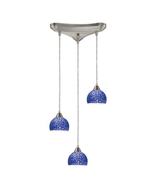 ELK Lighting Cira 3-Light Pendants in Satin Nickel and Pebbled Blue Glass
