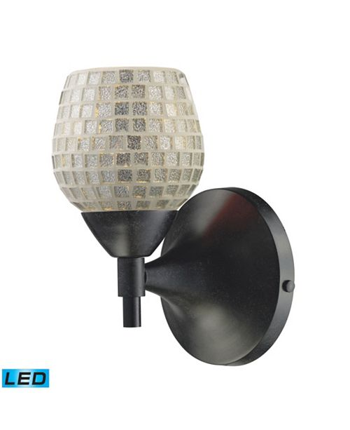 ELK Lighting Celina 1-Light Sconce in Dark Rust with Silver Glass - LED Offering Up To 800 Lumens (60 Watt Equivalent)