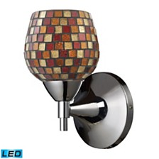 Celina 1-Light Sconce in Polished Chrome with Multi Fusion Glass - LED Offering Up To 800 Lumens (60 Watt Equivalent)