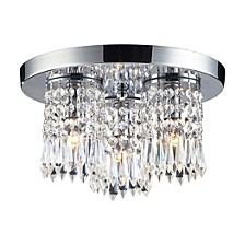 Optix Collection 3-Light Semi-Flush with 32% Lead Crysal and Polished Chrome Finish
