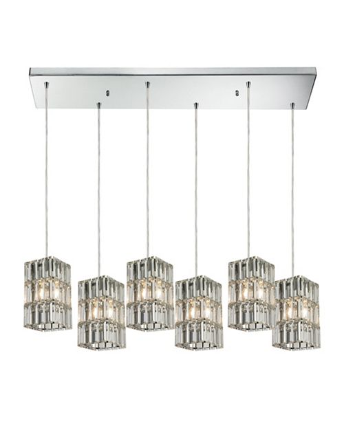 ELK Lighting Cynthia Collection 6 light pendant in Polished Chrome