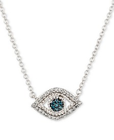 Diamond Evil Eye Pendant Necklace (1/10 ct. t.w.) in Sterling Silver