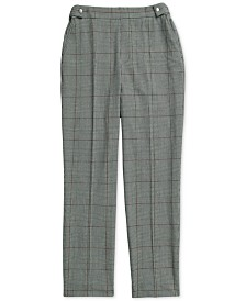 Tommy Hilfiger Adaptive Women's Christa Ankle Pull On Plaid Pants with Elastic Waist