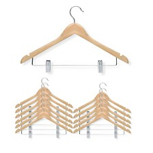 12-pack basic suit hanger with clips, maple finish