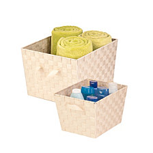 Honey Can Do Set of 2 Woven Task-It Baskets, Creme